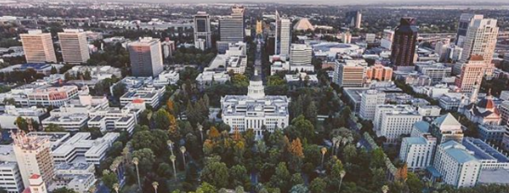 aerial view of the capital building in sacramento