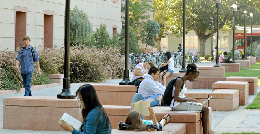 photograph of students hanging out and reading outside