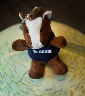 plush gunrock toy sitting on a globe
