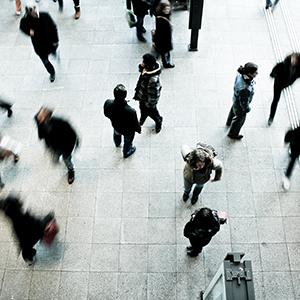 """overhead shot of people walking down the street"""