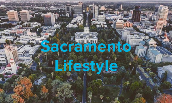 aerial shot of the capital building in sacramento