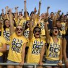 photo of Aggies in bleachers and matching yellow t-shirts cheering in unison.